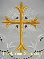Gold Cross Pattern on White Church Altar Linen