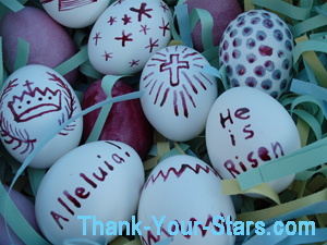 Close-up of Easter Eggs in Easter Egg Basket 01