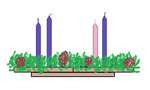 Unlit Candles on the Advent Wreath