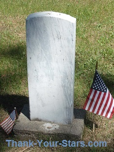 White Gravestone with 2 Flags