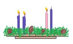 Three Candles Lit on the Advent Wreath