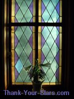 Window at Church with Cross and Easter Lilies