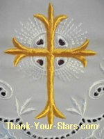 Gold Cross Pattern on White Church Altar Linen