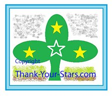 Shamrock Image with 3 solid yellow and 1 outline white stars on sky and earth background framed in blue