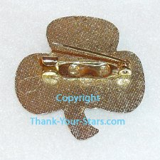 Shamrock Lapel Pin Back - Gold Pattern and Fastener in Center