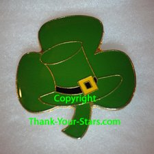Shamrock Lapel Pin Front - Porcelain Green With Leprechaun Hat in Center